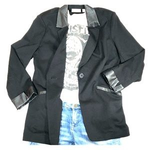 4 for 20~VINTAGE BLK BLAZER WITH FAUX LEATHER 12P